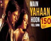 Veer & Zaaras love was eternal and Zaara could feel his presence even when he wasn't around! Enjoy the track 'Main Hoon Yahaan' from Veer-Zaara!<br/><br/> Song Credits:<br/>Song: Main Yahaan Hoon<br/>Singer: Udit Narayan<br/>Music: The Late Madan Mohan<br/>Music Recreated by: Sanjeev Kohli<br/>Lyrics: Javed Akhtar<br/><br/> Movie Credits:<br/>Movie: Veer-Zaara<br/>Starring: Shah Rukh Khan, Rani Mukerji, Preity Zinta, Kirron Kher, Divya Dutta, Boman Irani, Anupam Kher<br/>Special Appearance: Amitabh Bachchan, Hema Malini, Manoj Bajpai<br/>Director: Yash Chopra<br/>Producers: Yash Chopra and Aditya Chopra<br/><br/>Main Yahaan Hoon Lyrics<br/><br/>Jaanam dekh lo mit gayi dooriyan<br/>Main yahaan hoon, yahaan hoon<br/>Yahaan hoon, yahaan x (3)<br/><br/>Kaisi sarhadein, kaisi majbooriyan<br/>Main yahaan hoon, yahaan hoon<br/>Yahaan hoon, yahaan<br/><br/>Tum chhupa na sakogi main woh raaz hoon<br/>Tum bhula na sakogi woh andaz hoon<br/><br/>Goonjta hoon jo dil mein to hairan ho kyon<br/>Main tumhare hi dil ki to awaz hoon<br/>Sun sako to suno dhadkanon ki zuban<br/>Main yahaan hoon, yahaan hoon<br/>Yahaan hoon, yahaan<br/>Kaisi sarhadein, kaisi majbooriyan<br/>Main yahaan hoon, yahaan hoon<br/>Yahaan hoon, yahaan<br/><br/>Main hi main ab tumhare khayalon mein hoon<br/>Main jawabon mein hoon<br/>Main sawalon mein hoon<br/>Main tumhare har ek khwaab mein hoon basa<br/>Main tumhari nazar ke ujaalon mein hoon<br/>Dekhti ho mujhe dekhti ho jahaan<br/>Main yahaan hoon, yahaan hoon<br/>Yahaan hoon, yahaan<br/><br/>Jaanam dekh lo mit gayi dooriyan<br/>Main yahaan hoon, yahaan hoon<br/>Yahaan hoon, yahaan<br/>Kaisi sarhadein, kaisi majbooriyan<br/>Main yahaan hoon, yahaan hoon<br/>Yahaan hoon, yahaan<br/><br/>Main yahaan hoon, yahaan hoon<br/>Yahaan hoon, yahaan<br/><br/><br/><br/>#MainYahaanHoon #Veerzaara #ShahRukhKhan #srk #preityzinta #dailymotion #dailymotionmusic #hindisongs #india #bollywood #bollywoodsongs #indiasongs #dailymotionindia #hindisongs #dailymotionHindi #latest